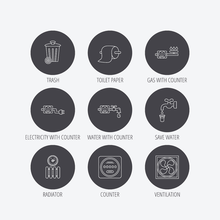 counters: Ventilation, radiator and water counter icons. Toiler paper, gas and electricity counters linear signs. Trash icon. Linear icons in circle buttons. Flat web symbols. Vector