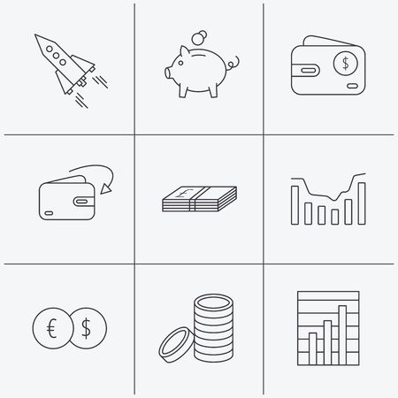 deceleration: Piggy bank, cash money and startup rocket icons. Wallet, currency exchange and dollar usd linear signs. Chart, coins and dynamics icons. Linear icons on white background. Vector
