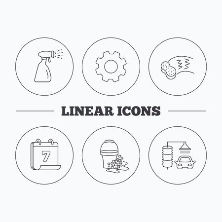 foam bubbles: Car wash icons. Automatic cleaning station linear signs. Bucket with foam bubbles, sponge and spray flat line icons. Flat cogwheel and calendar symbols. Linear icons in circle buttons. Vector