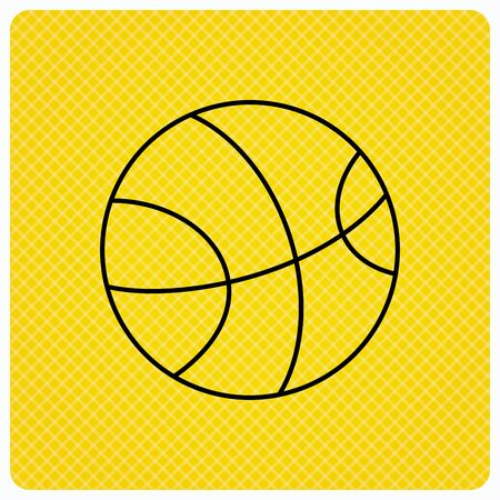 team game: Basketball equipment icon. Sport ball sign. Team game symbol. Linear icon on orange background. Vector Illustration