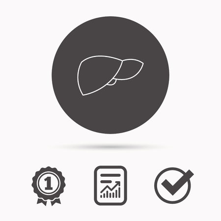 liver failure: Liver icon. Transplantation organ sign. Medical hepathology symbol. Report document, winner award and tick. Round circle button with icon. Vector