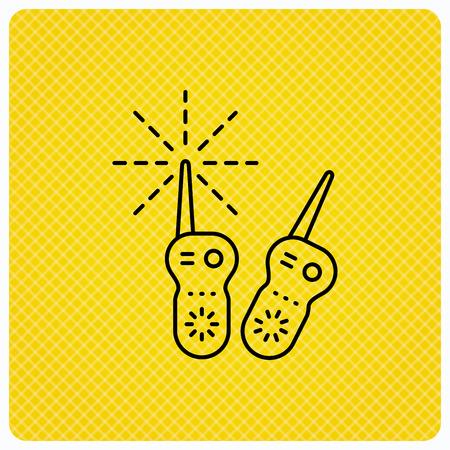 nanny: Baby monitor icon. Nanny for newborn sign. Radio set symbol. Linear icon on orange background. Vector