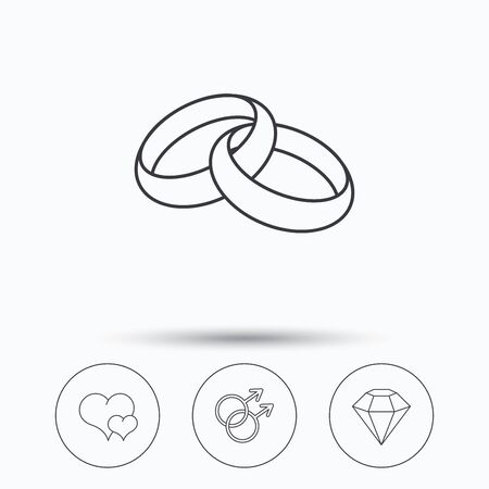 gay love: Love heart, diamond and wedding rings icons. Gay love linear sign. Linear icons in circle buttons. Flat web symbols. Vector