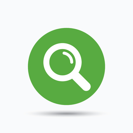 Magnifier icon. Search magnifying glass symbol. Flat web button with icon on white background. Green round pressbutton with shadow. Vector