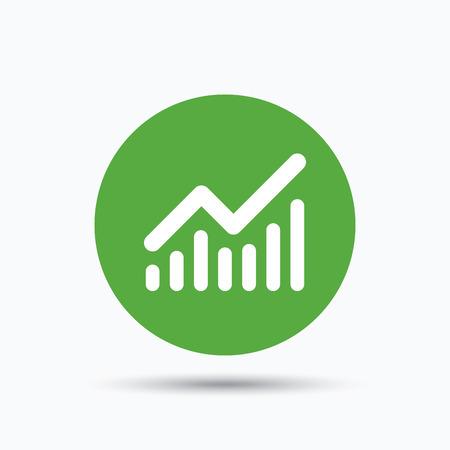 グラフ アイコン。ビジネス分析グラフのシンボル。白い背景にアイコンが付いたフラット web ボタン。シャドウとグリーンのラウンド使用。ベクト  イラスト・ベクター素材