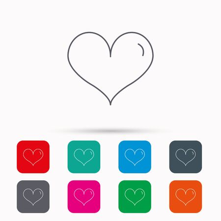 february 1: Heart icon. Love sign. Life symbol. Linear icons in squares on white background. Flat web symbols. Vector Illustration
