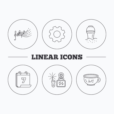beach bucket: Baby wc, video monitoring and songs for kids icons. Beach bucket linear sign. Flat cogwheel and calendar symbols. Linear icons in circle buttons. Vector