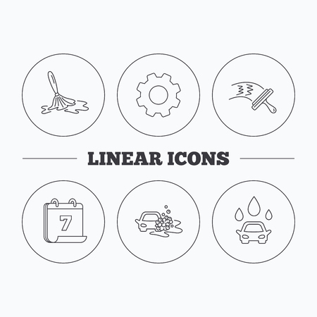 washing windows: Car wash icons. Automatic cleaning station linear signs. Washing windows, wet cleaning and foam bucket flat line icons. Flat cogwheel and calendar symbols. Linear icons in circle buttons. Vector