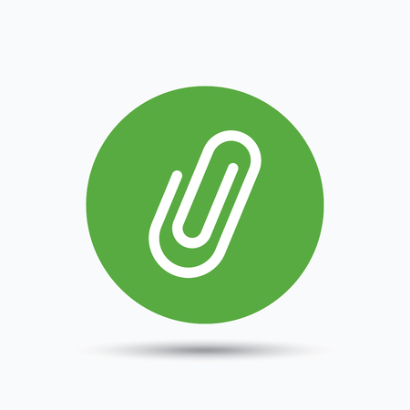 Attachment icon. Paper clip symbol. Flat web button with icon on white background. Green round pressbutton with shadow. Vector Illustration