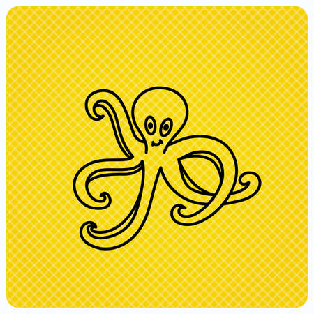 devilfish: Octopus icon. Ocean devilfish sign. Linear icon on orange background. Vector