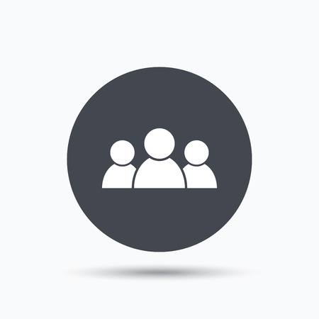 shadow people: People icon. Group of humans sign. Team work symbol. Flat web button with icon on white background. Gray round pressbutton with shadow. Vector