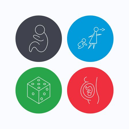 unattended: Pregnancy, paediatrics and dice icons. Unattended linear sign. Linear icons on colored buttons. Flat web symbols. Vector Illustration