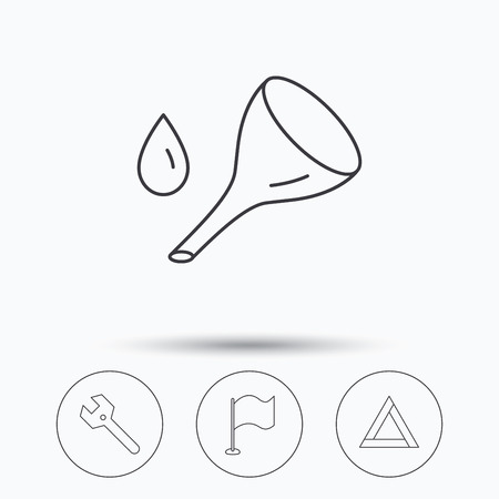 oil change: Flag pointer, emergency sign and wrench key icons. Emergency triangle, oil change linear signs. Linear icons in circle buttons. Flat web symbols. Vector