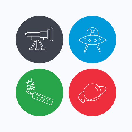 tnt: Ufo, planet and telescope icons. TNT dynamite linear sign. Linear icons on colored buttons. Flat web symbols. Vector
