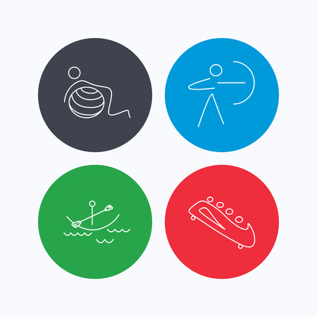 black white kayak: Gymnastics, boating and archery icons. Bobsled linear sign. Linear icons on colored buttons. Flat web symbols. Vector Illustration