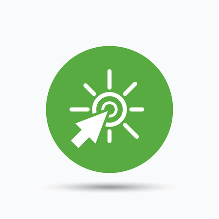 Click icon. Computer mouse cursor symbol. Flat web button with icon on white background. Green round pressbutton with shadow. Vector