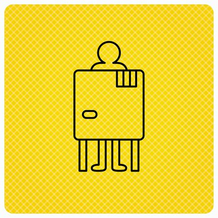 changing room: Beach changing cabin icon. Human symbol. Linear icon on orange background. Vector Illustration