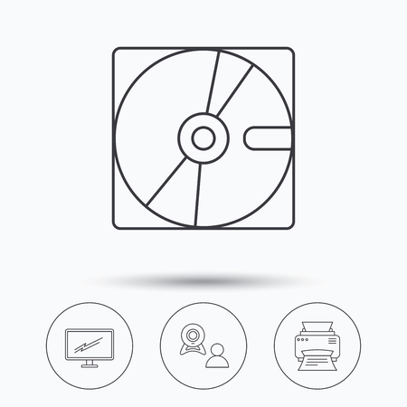 portative: Monitor, printer and video chat icons. Hard disk linear sign. Linear icons in circle buttons. Flat web symbols. Vector Illustration