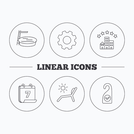 pool room: Hotel, swimming pool and beach deck chair icons. Clean room linear sign. Flat cogwheel and calendar symbols. Linear icons in circle buttons. Vector Illustration