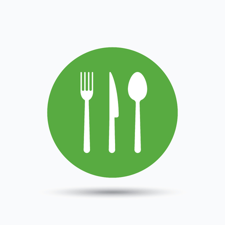 Fork, knife and spoon icons. Cutlery symbol. Flat web button with icon on white background. Green round pressbutton with shadow. Vector