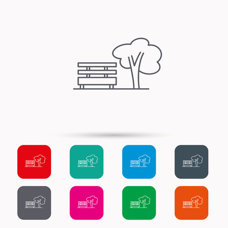 park icon: Public park icon. Tree with bench sign. Linear icons in squares on white background. Flat web symbols. Vector