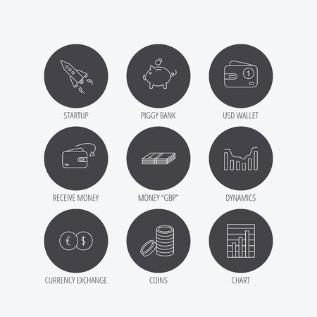 deceleration: Piggy bank, cash money and startup rocket icons. Wallet, currency exchange and dollar usd linear signs. Chart, coins and dynamics icons. Linear icons in circle buttons. Flat web symbols. Vector Illustration