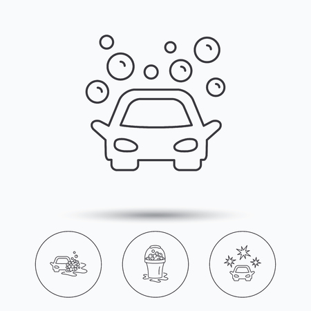 operated: Car wash icons. Automatic cleaning station linear signs. Wet cleaning and foam bucket flat line icons. Linear icons in circle buttons. Flat web symbols. Vector