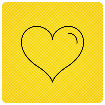 february 1: Love heart icon. Life sign. Linear icon on orange background. Vector