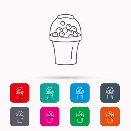 soapy: Bucket with foam icon. Soapy cleaning sign. Linear icons in squares on white background. Flat web symbols. Vector
