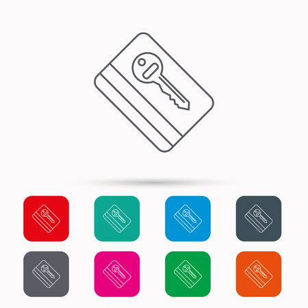room card: Electronic key icon. Hotel room card sign. Unlock chip symbol. Linear icons in squares on white background. Flat web symbols. Vector Illustration