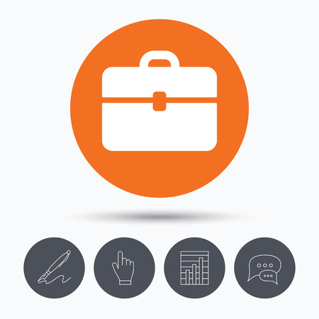 business case: Briefcase icon. Diplomat handbag symbol. Business case sign. Speech bubbles. Pen, hand click and chart. Orange circle button with icon. Vector Illustration