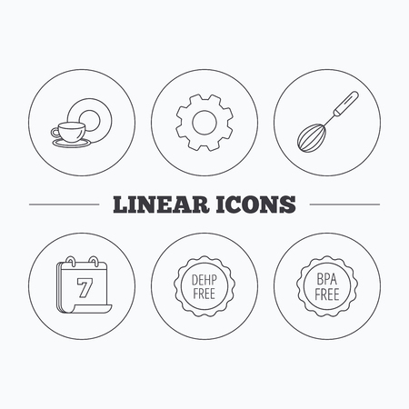 bpa: Food and drink, whisk and BPA free icons. DEHP free linear sign. Flat cogwheel and calendar symbols. Linear icons in circle buttons. Vector