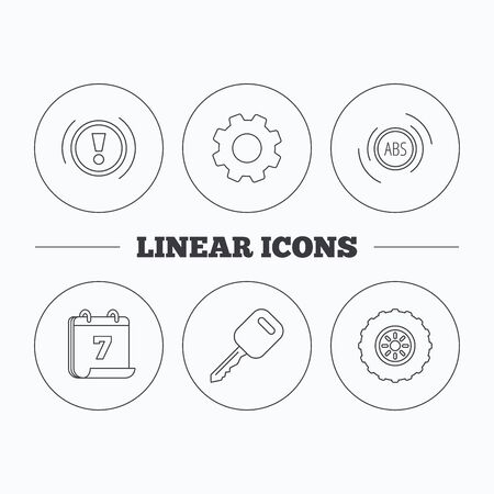 abs: Car key, abs and wheel icons. Warning ABS, attention linear signs. Flat cogwheel and calendar symbols. Linear icons in circle buttons. Vector