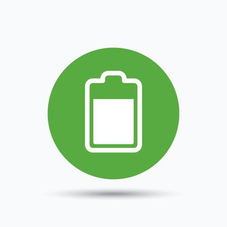 green power: Battery power icon. Charging accumulator symbol. Flat web button with icon on white background. Green round pressbutton with shadow. Vector