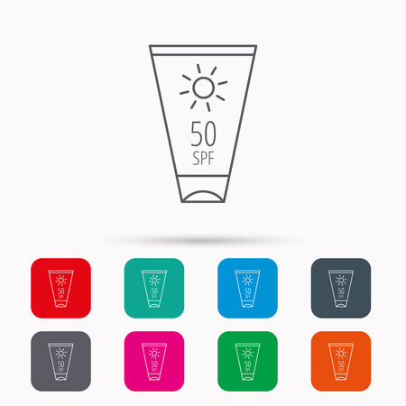 sun cream: Sun cream container icon. Beach lotion sign. Linear icons in squares on white background. Flat web symbols. Vector