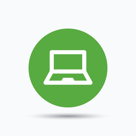Computer icon. Notebook or laptop pc symbol. Flat web button with icon on white background. Green round pressbutton with shadow. Vector