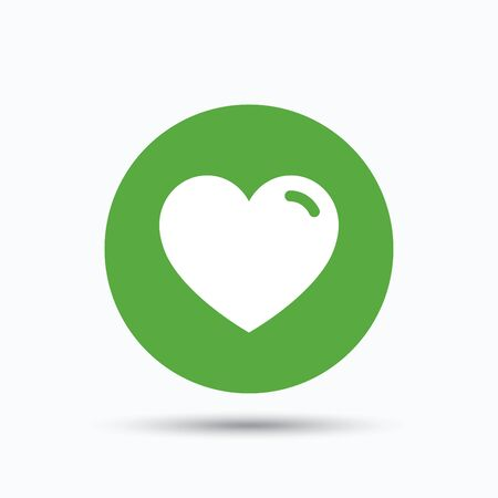 Heart icon. Romantic love symbol. Flat web button with icon on white background. Green round pressbutton with shadow. Vector Illustration