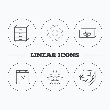 cosy: Corner sofa, ceiling lamp and chest of drawers icons. Furniture linear signs. Flat cogwheel and calendar symbols. Linear icons in circle buttons. Vector Illustration