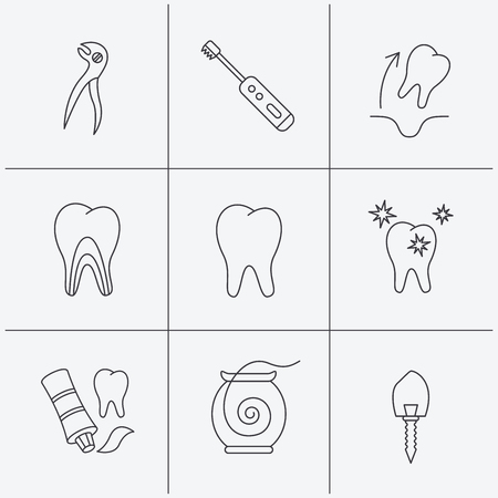 paradontosis: Tooth extraction, electric toothbrush icons. Dental implant, floss and dentinal tubules linear signs. Toothpaste icon. Linear icons on white background. Vector Illustration