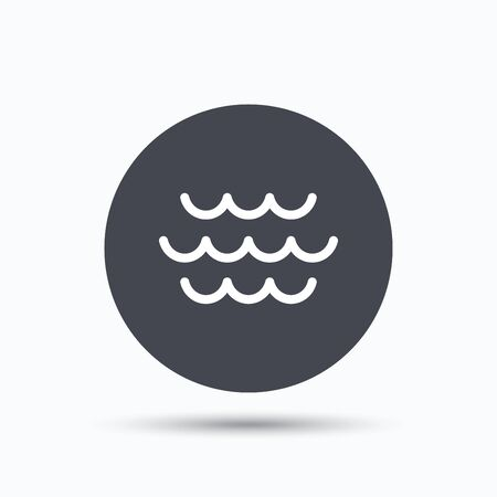 water stream: Wave icon. Water stream symbol. Flat web button with icon on white background. Gray round pressbutton with shadow. Vector