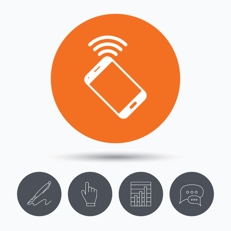 cellphone in hand: Cellphone icon. Mobile phone communication symbol. Speech bubbles. Pen, hand click and chart. Orange circle button with icon. Vector