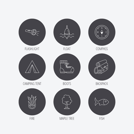 fish fire: Maple tree, fishing float and hiking boots icons. Compass, flashlight and fire linear signs. Camping tent, fish and backpack icons. Linear icons in circle buttons. Flat web symbols. Vector