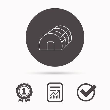 warm house: Greenhouse complex icon. Hothouse building sign. Warm house symbol. Report document, winner award and tick. Round circle button with icon. Vector