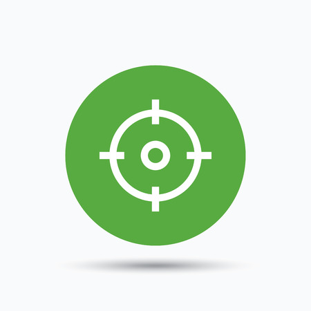 Target icon. Crosshair aim symbol. Flat web button with icon on white background. Green round pressbutton with shadow. Vector