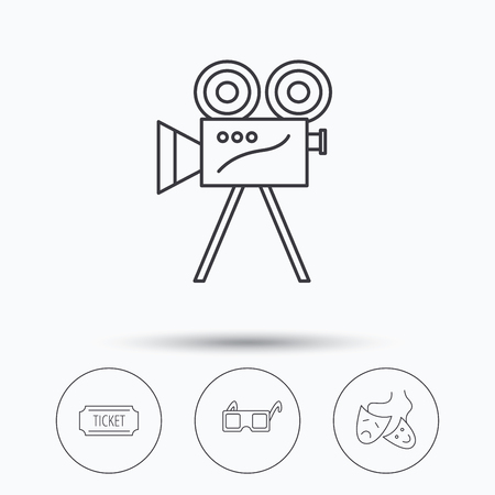 theater masks: Ticket, video camera and theater masks icons. 3d glasses linear sign. Linear icons in circle buttons. Flat web symbols. Vector Illustration