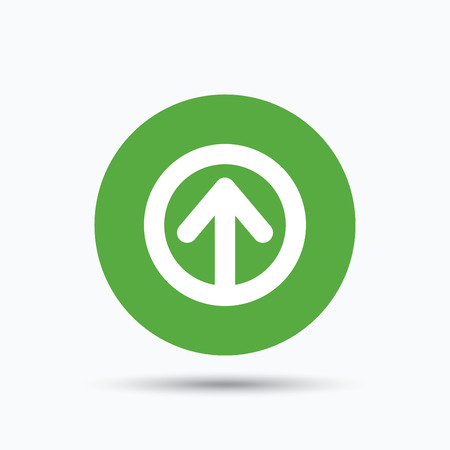 Upload icon. Load internet data symbol. Flat web button with icon on white background. Green round pressbutton with shadow. Vector