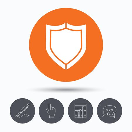honour guard: Shield protection icon. Defense equipment symbol. Speech bubbles. Pen, hand click and chart. Orange circle button with icon. Vector