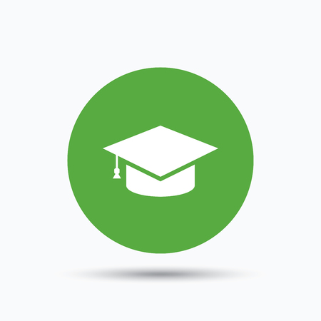 Education icon. Graduation cap symbol. Flat web button with icon on white background. Green round pressbutton with shadow. Vector