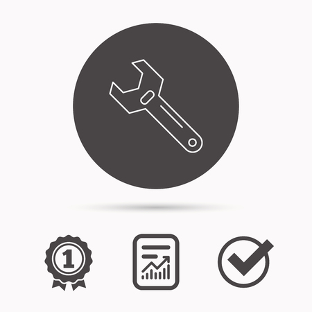 adjustable: Wrench key icon. Adjustable repair tool sign. Report document, winner award and tick. Round circle button with icon. Vector Illustration