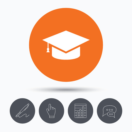 higher quality: Education icon. Graduation cap symbol. Speech bubbles. Pen, hand click and chart. Orange circle button with icon. Vector Illustration